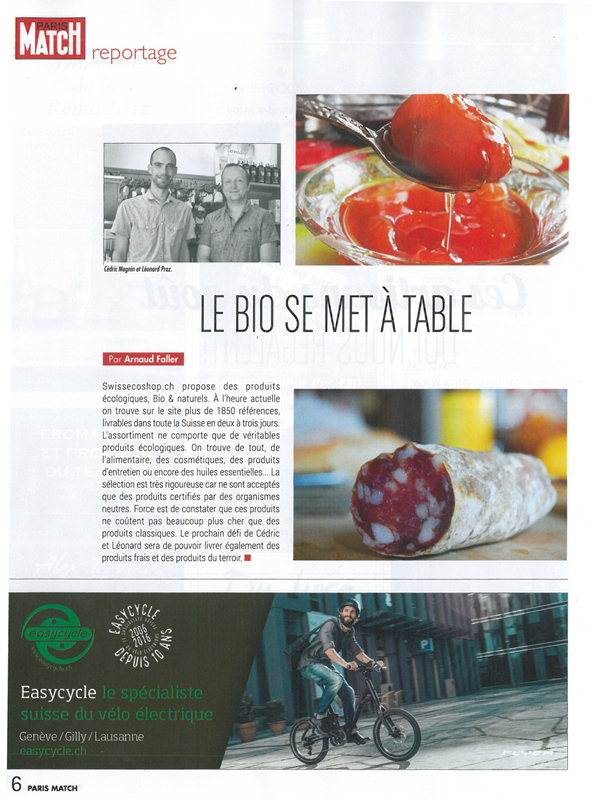 Article sur SwissEcoShop dans ParisMatch
