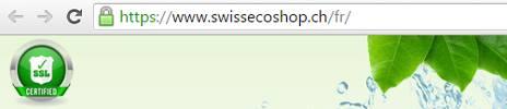 SwissEcoShop.ch est sécurisé par la norme SSL