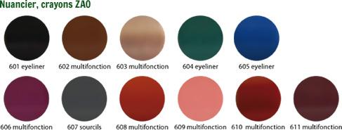 Nuancier cryaons de maquillage - Zao